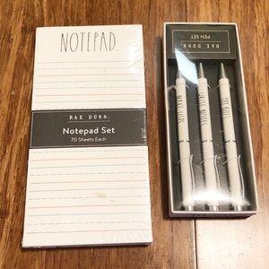 NWT Rae Dunn bundle 2 notepads, 3 pens box set